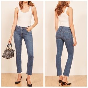 Reformation Mid Rise Slim Raw Hem Jean in Kasai 25